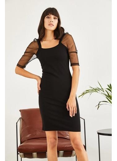 Sortee Kadın Kolları Tüllü Elbise Siyah